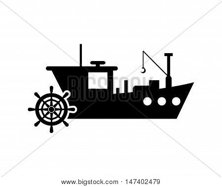 flat design fishing boat and anchor  icon vector illustration