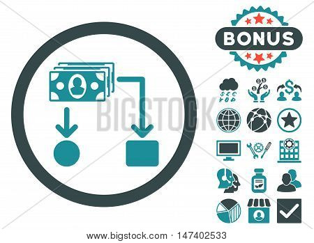 Cashflow icon with bonus pictures. Vector illustration style is flat iconic bicolor symbols, soft blue colors, white background.