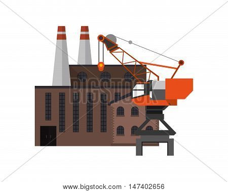 flat design factory and  industrial crane icon vector illustration