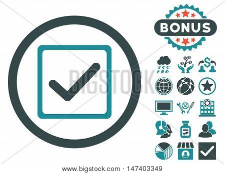 Checkbox icon with bonus pictogram. Vector illustration style is flat iconic bicolor symbols, soft blue colors, white background.