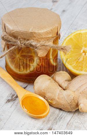 Fresh Lemon, Honey And Ginger On Wooden Table, Healthy Nutrition