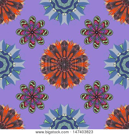 Hand drawn indian seamless pattern with colorful mandalas. Lilac blue orange grey. Vector.