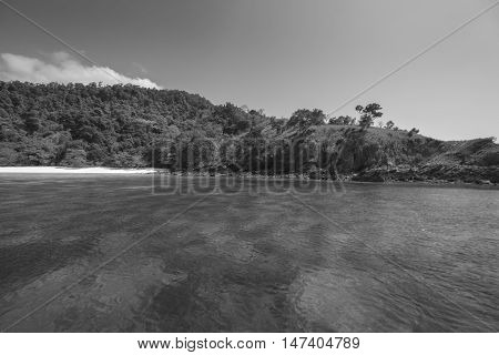 Tropical beach scenery, Andaman sea, View of Zadetkyi island, Myanmar (Burma)