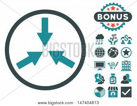 Collide Arrows icon with bonus design elements. Vector illustration style is flat iconic bicolor symbols, soft blue colors, white background.