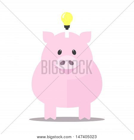 Pink piggy bank idea bulb concept isolated on white background. Pig for saving idea Vector illustration.
