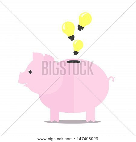 Pink piggy bank idea bulb concept isolated on white background. Pig for saving idea Vector