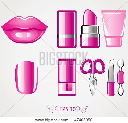Vector cosmeics icon. Female lip and nail