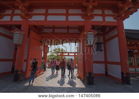KYOTO, JAPAN - APRIL 30 , 2016 : Torii gates in Fushimi Inari Shrine, Kyoto, Japan. APRIL 30 2016.