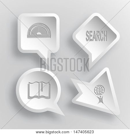 4 images: protractor, search, book, little man with globe. Education set. Paper stickers. Vector illustration icons.