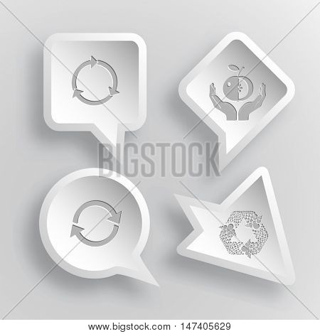 4 images:  apple in hands, recycle symbol. Ecology set. Paper stickers. Vector illustration icons.