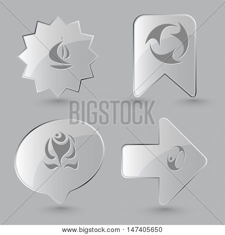 4 images: ship, recycle symbol, rose, skydiver. Abstract set. Glass buttons on gray background. Vector icons.