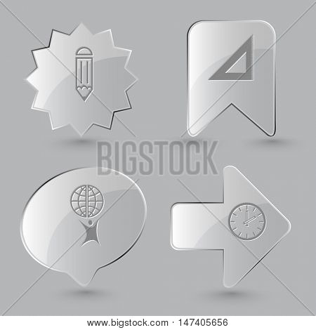 4 images: pencil, triangle ruler, little man with globe, clock. Education set. Glass buttons on gray background. Vector icons.