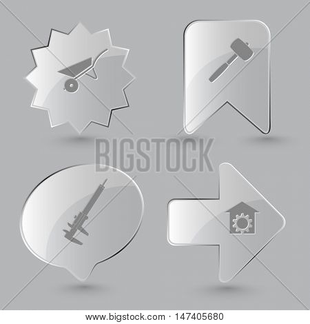 4 images: wheelbarrow, mallet, caliper, repair shop. Industrial tools set. Glass buttons on gray background. Vector icons.