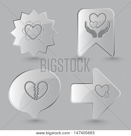 4 images: atomic heart, love in hands, unrequited love, closed heart. Heart shape set. Glass buttons on gray background. Vector icons.