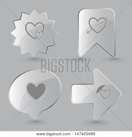 4 images: careful heart, and arrow, protection love. Heart shape set. Glass buttons on gray background. Vector icons.