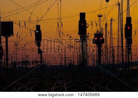 Railway Tracks in Frankfurt am Main railway station at Sunset