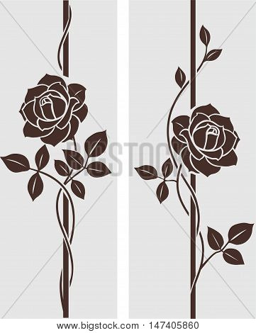 Decorative roses silhouette. Vector ornament with roses