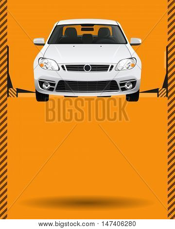 Car auto repair lift. Template layout concept creative color illustration. Cover background.