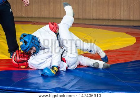 Orenburg, Russia - 14 May 2016: The Boys Compete In Hand-to-hand Fight
