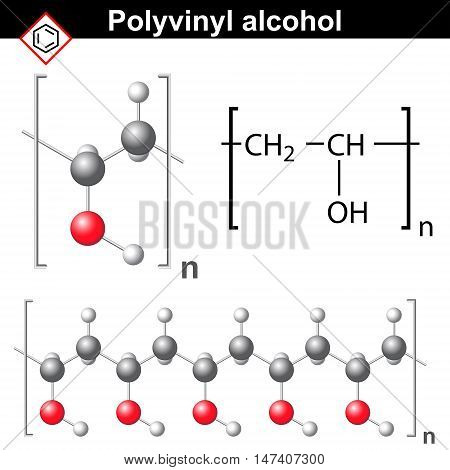 Polyvinyl alcohol polymer chemical structure 2d and 3d illustration vector on white background eps 8