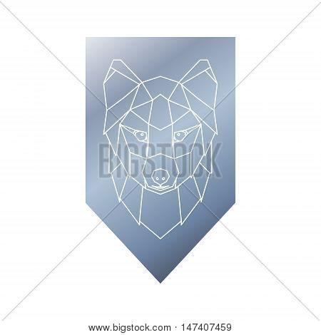 Arctic fox polygonal head sign. Vector illustration.