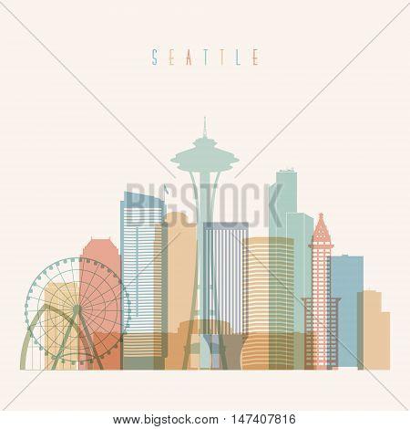 Transparent styled Seattle state Washington skyline detailed silhouette. Trendy vector illustration.