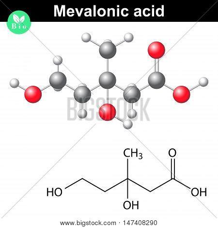 Mevalonic acid molecule - chemical model and molecular formula 3d lab illustration vector eps 8