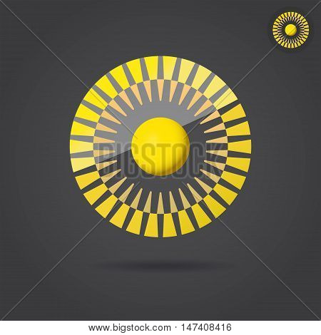 Abstract golden circle connection icon 2d vector illustration on dark background eps 10