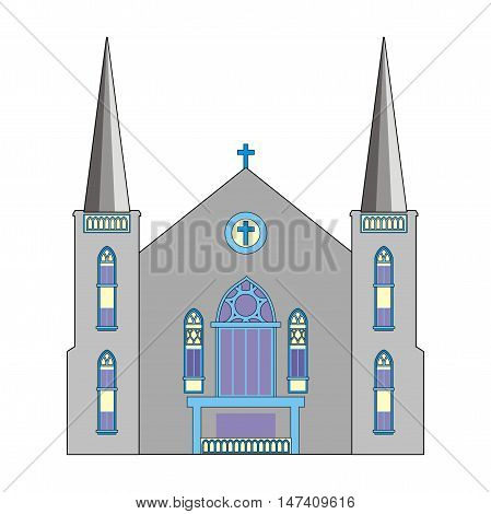 Illustration Baptist Church with a blue cross and two towers isolated on white background