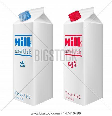 Milk cartons with screw cap. Reduced fat milk. Blue and red screw cap.