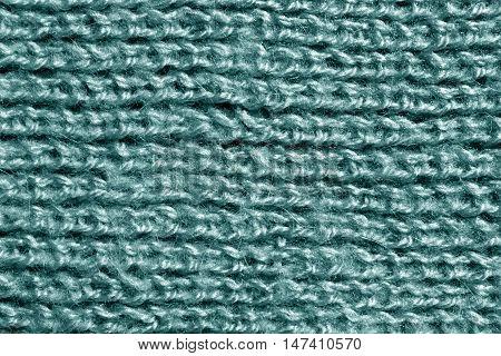 Wool Knitting Cyan Pattern.