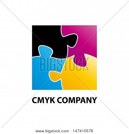 Vector sign CMYK puzzle, isolated on white