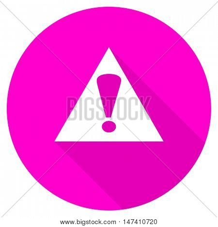 exclamation sign flat pink icon