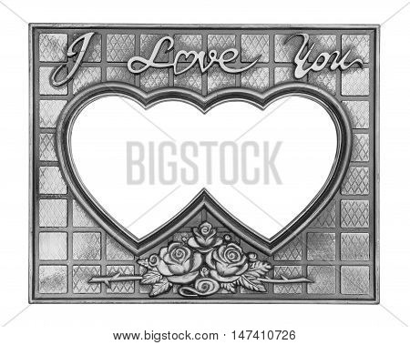 Gray picture frame with a decorative pattern on white background