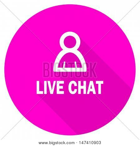 live chat flat pink icon