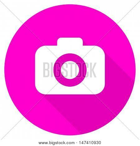 photo camera flat pink icon