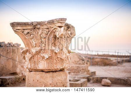 Ancient Columns In Paphos Archaeological Park, Cyprus