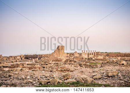 Ruins of ancient prosperous city in Paphos Archaeological Park Cyprus