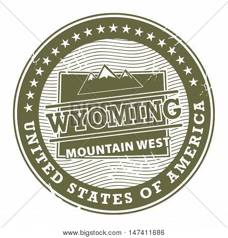 Grunge rubber stamp with text Wyoming, Mountain West, vector illustration