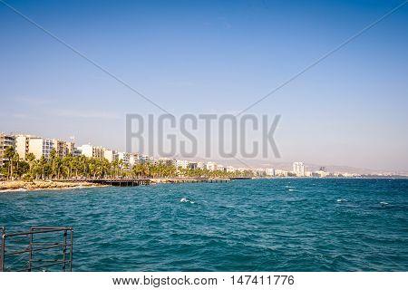 Mediterranean coast in Limassol Republic of Cyprus