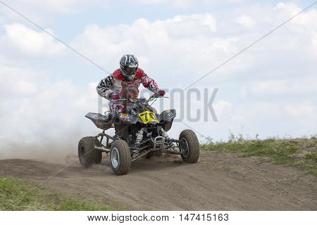 Dnepropetrovsk, Ukraine, May 22, 2016.Ukraine Motocross Championship in 2016. Motorcycle racer on the sports ATV during the competition
