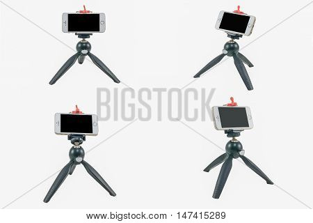 Tripod with iPhone style on white background isolated.
