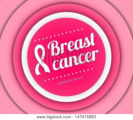 Breast cancer october awareness month card. Breast Cancer Sign.