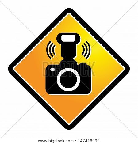 Camera with flash sign or symbol, vector illustration