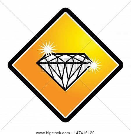 Diamond sign or symbol on white bacground, vector illustration