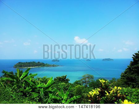 Tropical View and Blue Ocean. Tropical blue ocean and ocean landscape view