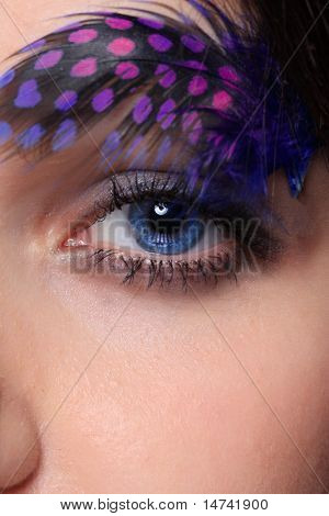 Beautiful woman`s  eye close up with feather.