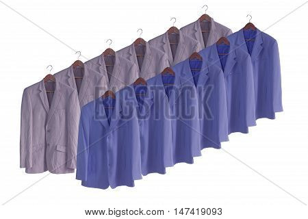 men suit isolated on white  background and soft focus.