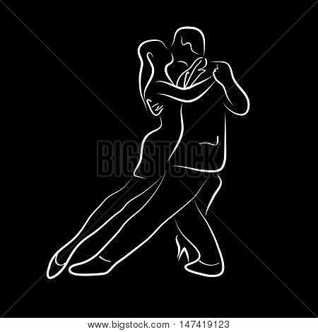 Vector illustration waltz and tango ballet on black