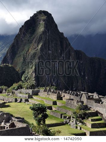 Vertical Andes Mountain overlooking Machu Picchu